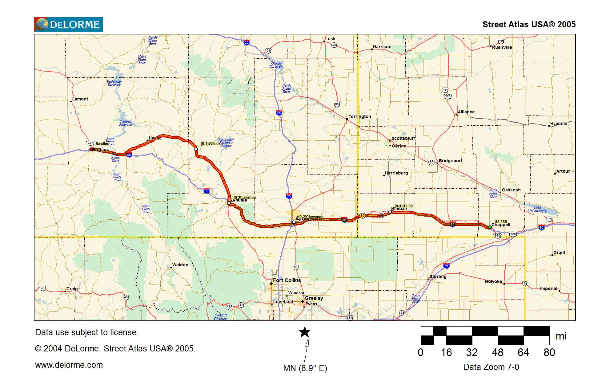 Map Outbound Nebraska Into Wyoming Traveling The Lincoln Highway - Us highway 80 map