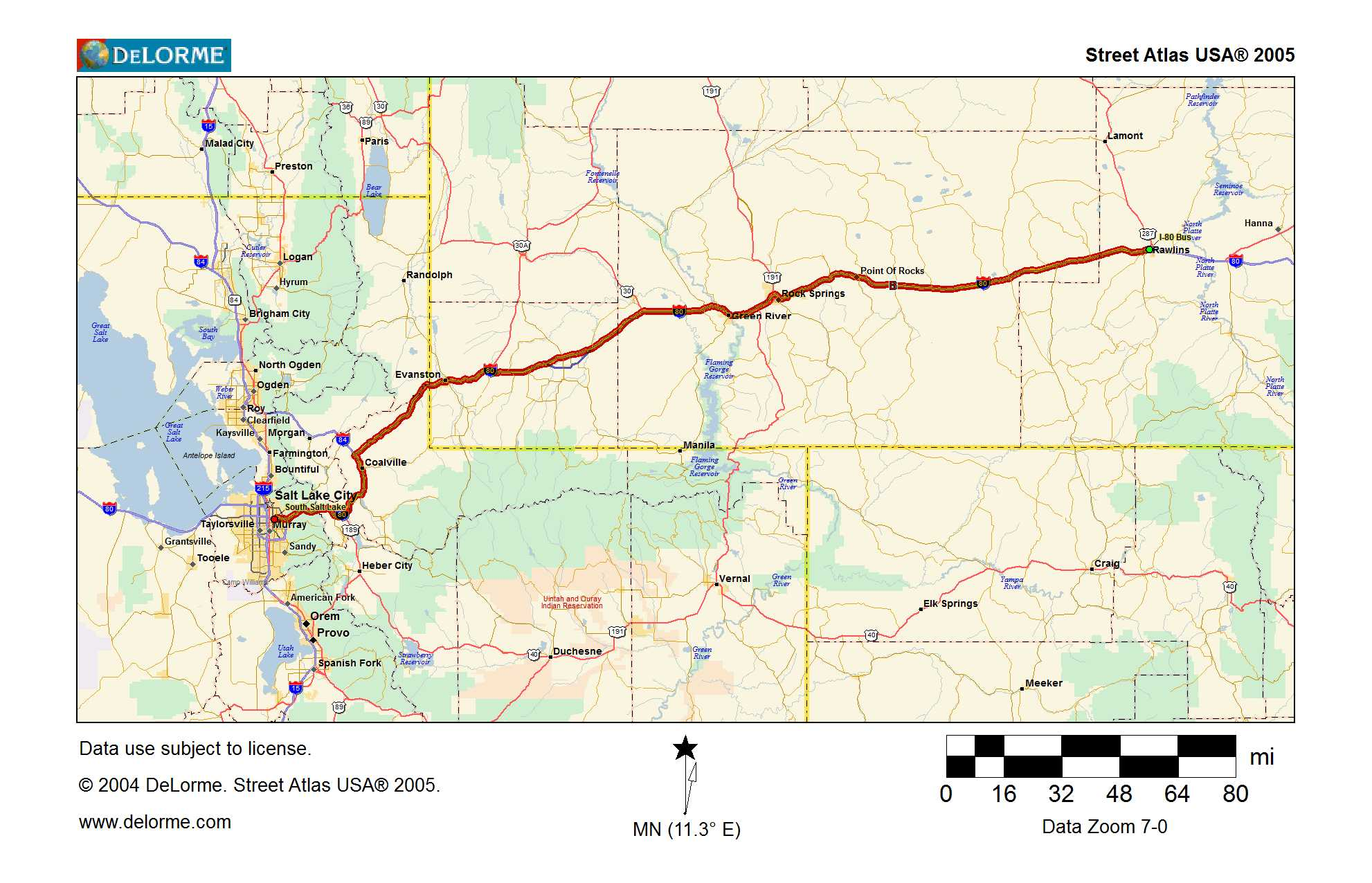 Map 4  Outbound Rawlins To SLC  Traveling The Lincoln