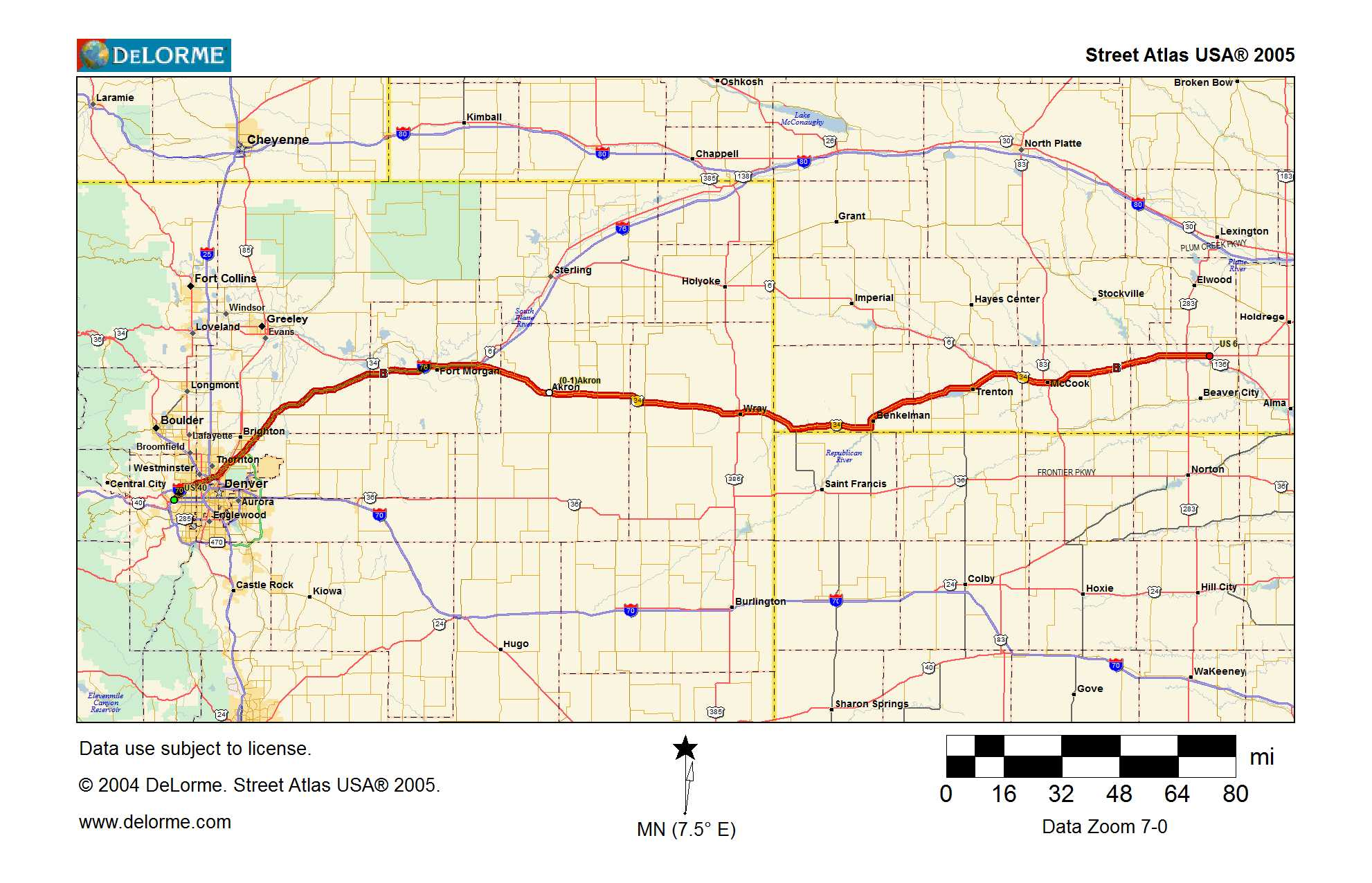 Map Eastern Colorado Traveling The Lincoln Highway - Map of colorado highways